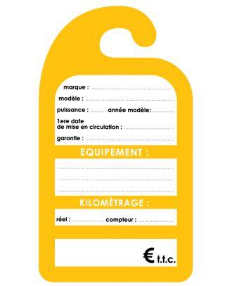 Affiche de prix rétroviseur en carton coloris jaune les 100 ex