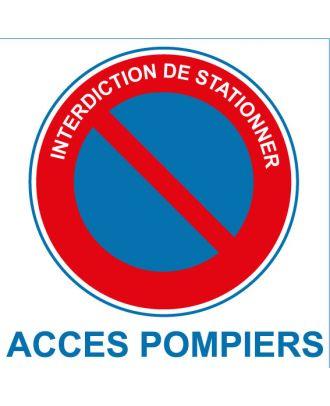 Autocollant interdiction de stationner accès pompiers