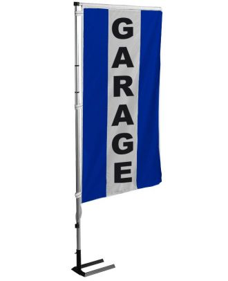Kit drapeau et mat garage bleu à bandes latérales 4 m