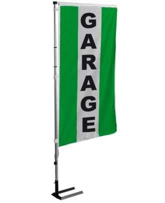 Kit mat et drapeau garage vert à bandes latérales 4 m