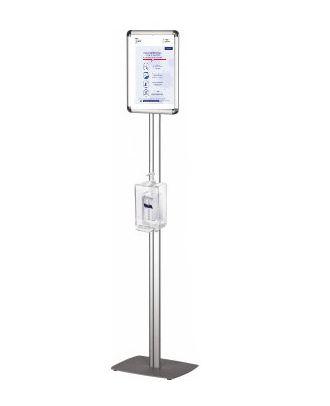 Présentoir gel hydroalcoolique sur pied et porte affiche A4