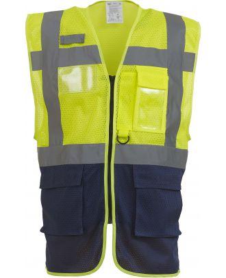 """Gilet haute visibilité Top Cool """"Management"""" HVW820 - Hi Vis Yellow / Navy Blue de face"""